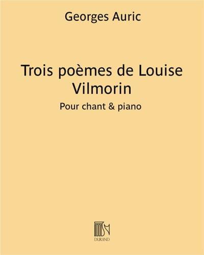 3 Poèmes de Vilmorin - Georges Auric - Partition - laflutedepan.com