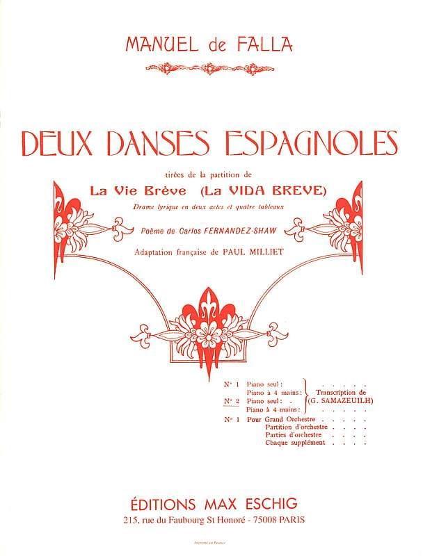 2 Danses Espagnoles N° 2 - DE FALLA - Partition - laflutedepan.com