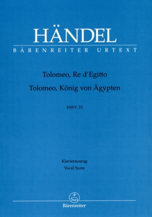Tolomeo, Re d' Egitto. HWV 25. - HAENDEL - laflutedepan.com