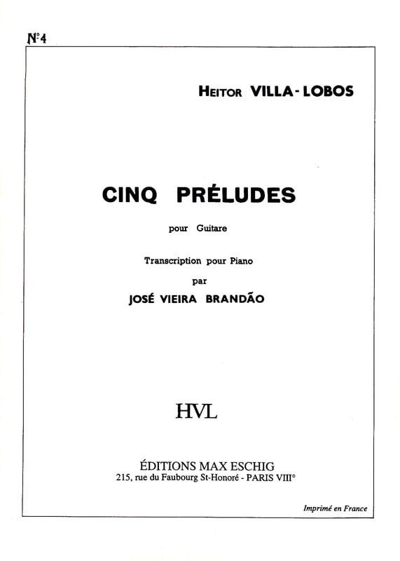 Prélude N° 4 - VILLA-LOBOS - Partition - Piano - laflutedepan.com