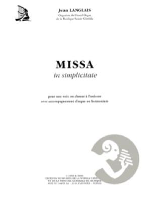 Missa In Simplicitate - Jean Langlais - Partition - laflutedepan.com