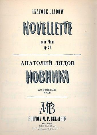 Novellette Op. 20 - Anatoly Liadov - Partition - laflutedepan.com