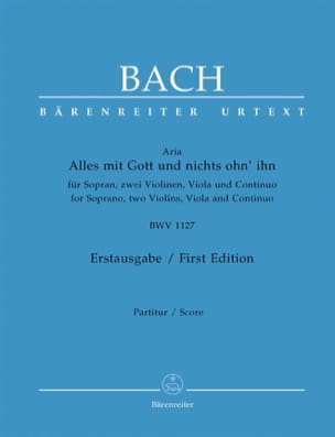 BACH - Alles Mit Gott Und Nicht Ohn 'Ihn BWV 1127 - Partition - di-arezzo.co.uk