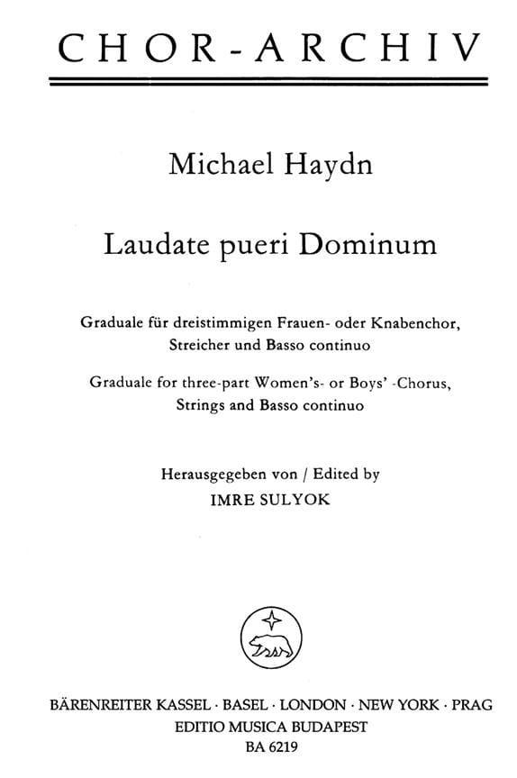 Laudate pueri Dominum - Michael HAYDN - Partition - laflutedepan.com
