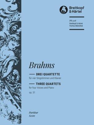 3 Quartette Opus 31 BRAHMS Partition laflutedepan
