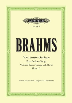 BRAHMS - 4 Ernste Gesänge Opus 121. Serious Voice - Partition - di-arezzo.com