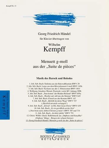 Menuet en sol mineur - HAENDEL - Partition - Piano - laflutedepan.com