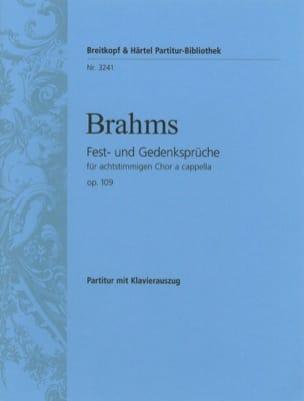 Fest-Und Gedenksprüche Opus 109 BRAHMS Partition Chœur - laflutedepan