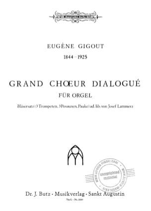Grand Choeur Dialogué G-Dur Eugène Gigout Partition laflutedepan