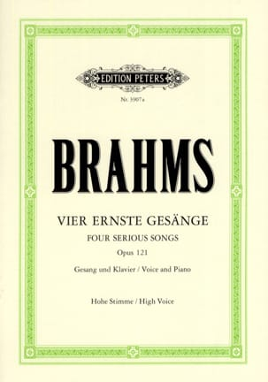 BRAHMS - 4 Ernste Gesänge Opus 121. High Voice - Partition - di-arezzo.co.uk
