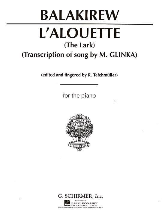 L'Alouette - Mili Balakirev - Partition - Piano - laflutedepan.com