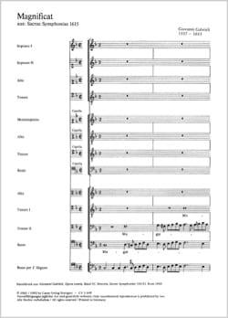 Magnificat a 12 voci GABRIELI Partition Chœur - laflutedepan