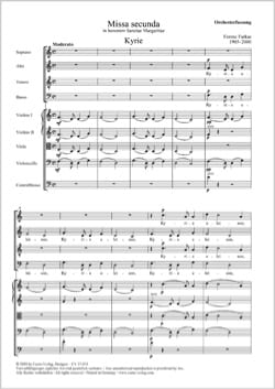 Missa Secunda. SATB Ferenc Farkas Partition Chœur - laflutedepan