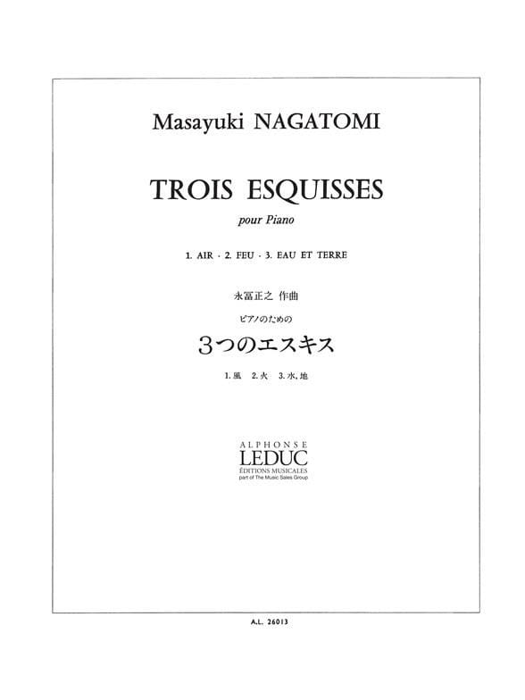 3 Esquisses - Masayuki Nagatomi - Partition - Piano - laflutedepan.com