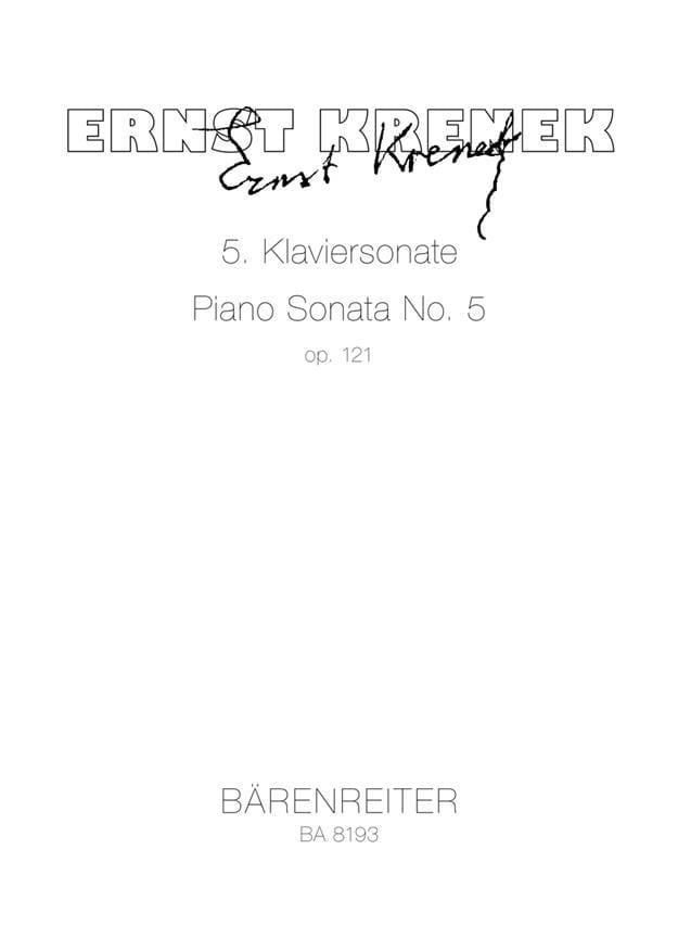 5ème Klaviersonate Op. 121 1950 - Ernst Krenek - laflutedepan.com