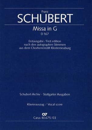 Messe En Sol Majeur D 167 SCHUBERT Partition Chœur - laflutedepan