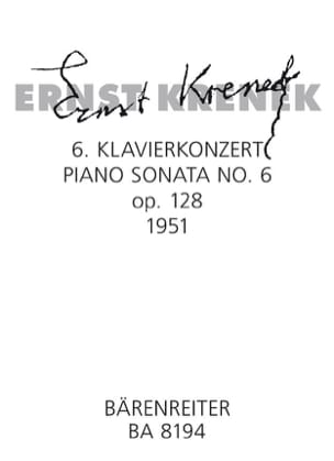 Sixième sonate Op. 128 1951 Ernst Krenek Partition laflutedepan