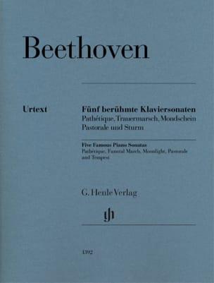 5 Sonates célèbres pour piano BEETHOVEN Partition Piano - laflutedepan