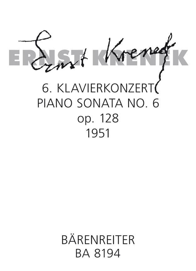 Sixième sonate Op. 128 1951 - Ernst Krenek - laflutedepan.com