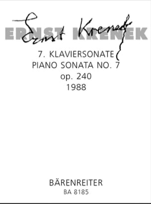 7ème Klaviersonate Op. 240 1988 Ernst Krenek Partition laflutedepan