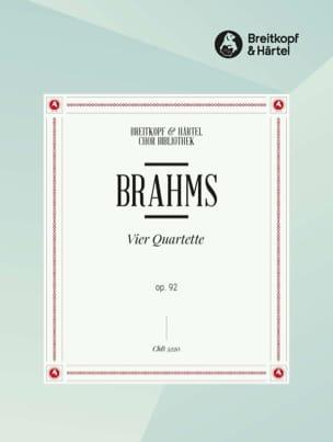 4 Quartette Opus 92. Choeur BRAHMS Partition Chœur - laflutedepan