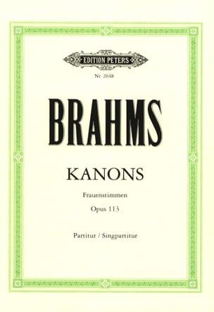 Kanons Opus 113 BRAHMS Partition Chœur - laflutedepan
