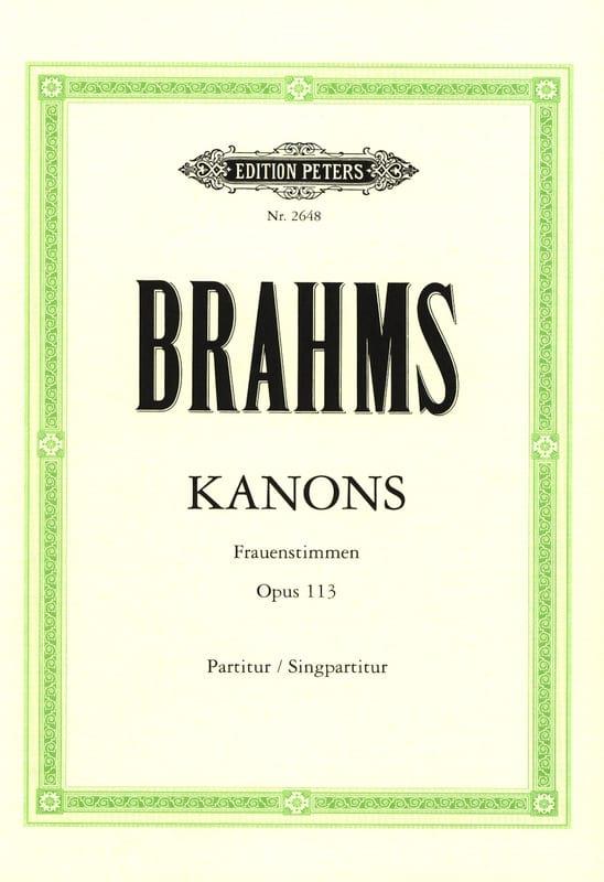 Kanons Opus 113 - BRAHMS - Partition - Chœur - laflutedepan.com