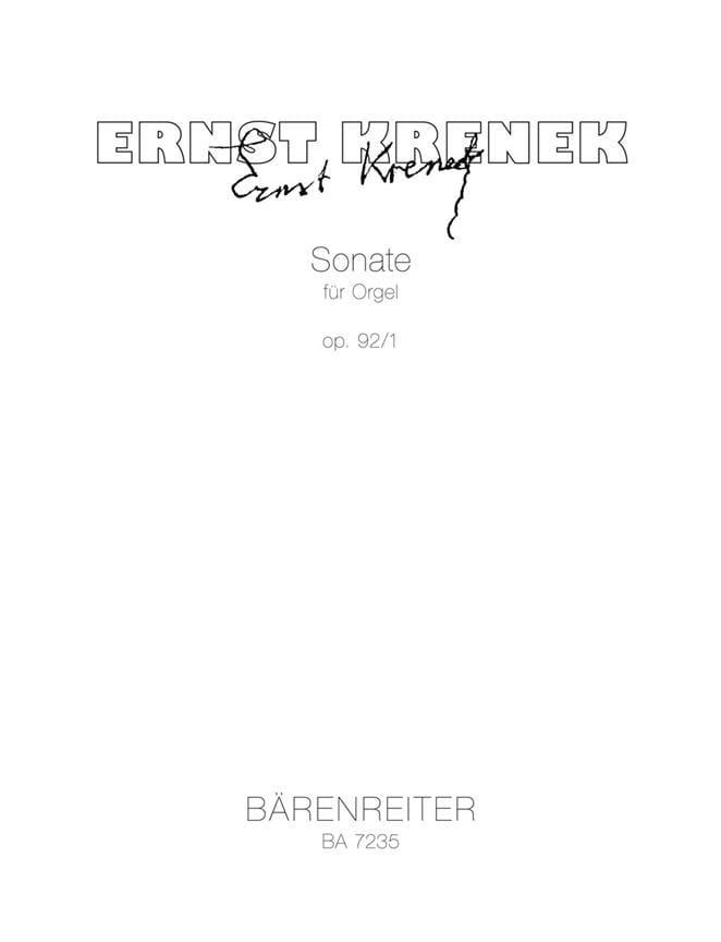 Sonate für Orgel Op. 92-1 - Ernst Krenek - laflutedepan.com