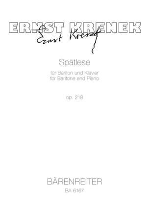 Spätlese Op. 218 1973 Ernst Krenek Partition Mélodies - laflutedepan