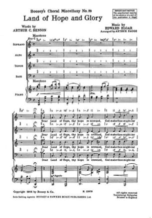 Land Of Hope And Glory ELGAR Partition Chœur - laflutedepan