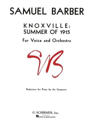 Knoxville: Summer Of 1915 Opus 24 BARBER Partition laflutedepan
