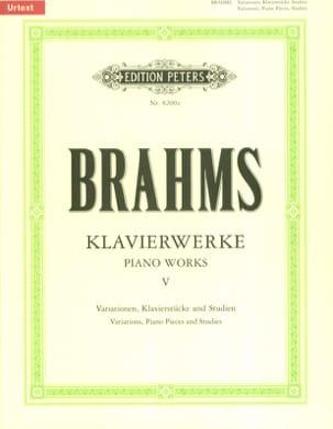 Oeuvres pour Piano Volume 5 BRAHMS Partition Piano - laflutedepan