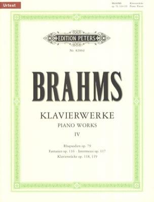 Oeuvres pour Piano Volume 4 BRAHMS Partition Piano - laflutedepan