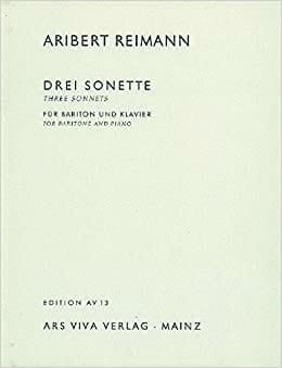 3 Sonnets from Shakespeare Aribert Reimann Partition laflutedepan