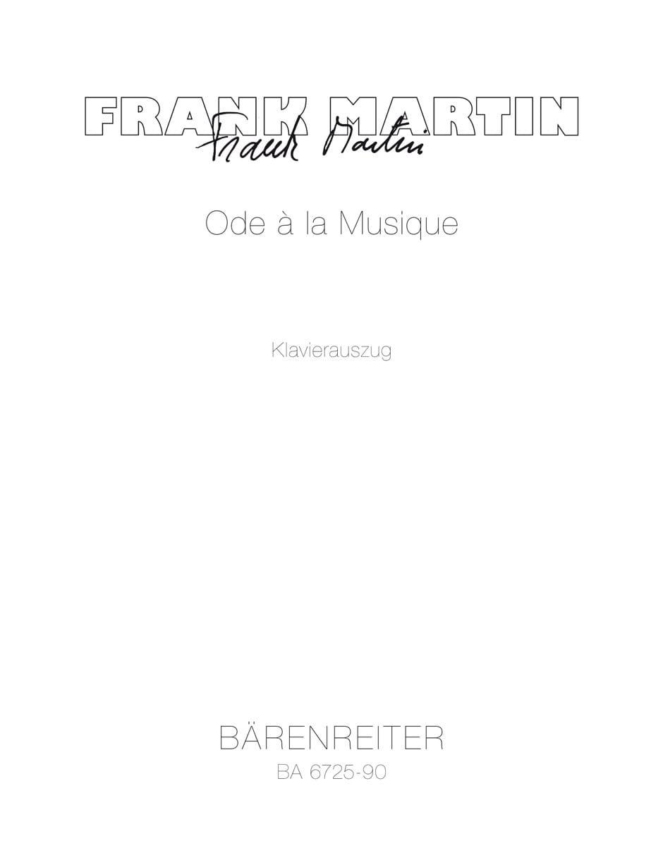 Ode A la Musique 1961 - Frank Martin - Partition - laflutedepan.com