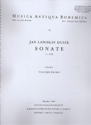 Sonates 1 A 7 Volume 1. Jan Ladislav Dussek Partition laflutedepan