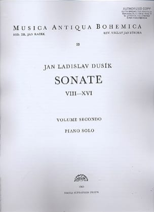Sonates 8 A 16 Volume 2. Jan Ladislav Dussek Partition laflutedepan