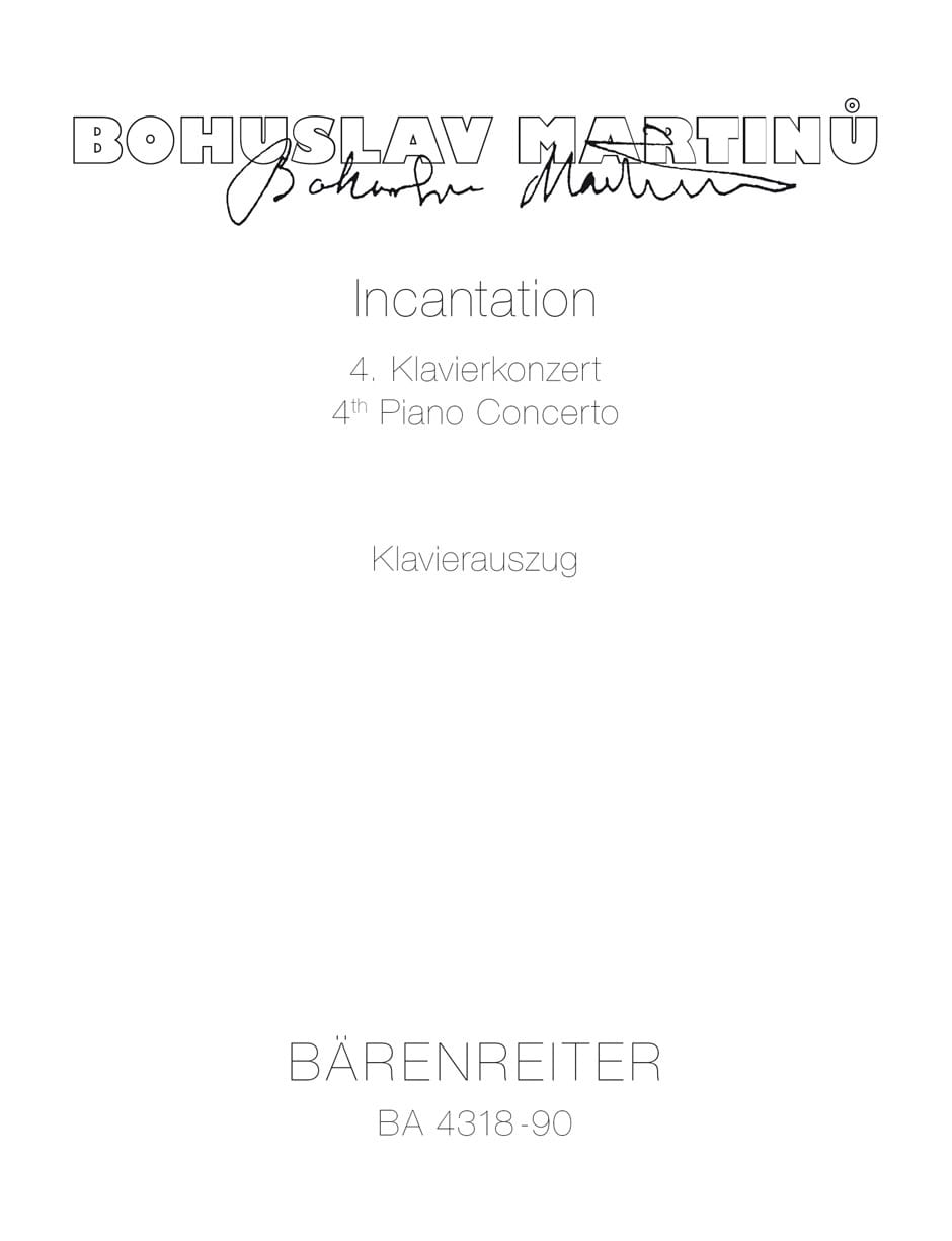 Incantation: Concerto N° 4 - MARTINU - Partition - laflutedepan.com