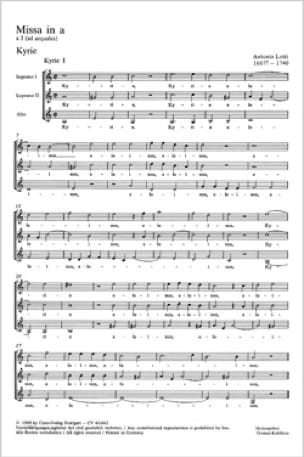 Missa En la Mineur - Antonio Lotti - Partition - laflutedepan.com
