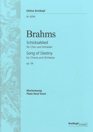 Schicksalslied Opus 54 BRAHMS Partition Chœur - laflutedepan