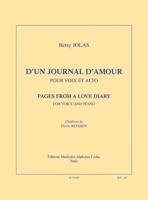 D' un journal d'amour - Betsy Jolas - Partition - laflutedepan.com