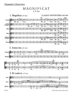 Magnificat. Choeur seul MONTEVERDI Partition Chœur - laflutedepan