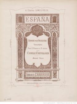 España. 2 Pianos 8 Mains. CHABRIER Partition Piano - laflutedepan