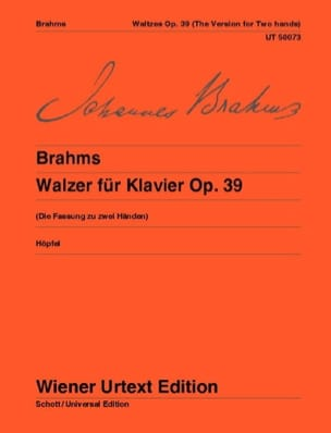 Valses Opus 39. BRAHMS Partition Piano - laflutedepan