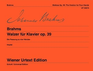 Valses Opus 39. 4 Mains BRAHMS Partition Piano - laflutedepan