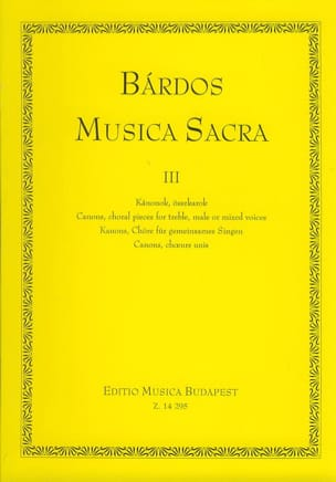Musica sacra Volume 3 Lajos Bardos Partition Chœur - laflutedepan