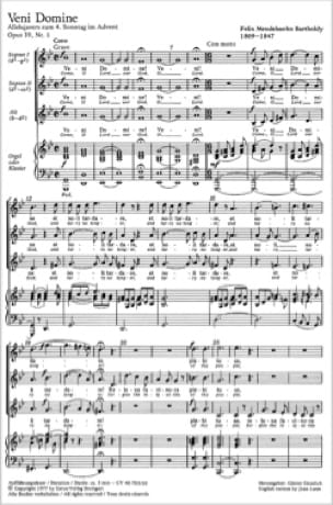 Veni Domine Opus 39-1 - MENDELSSOHN - Partition - laflutedepan.com