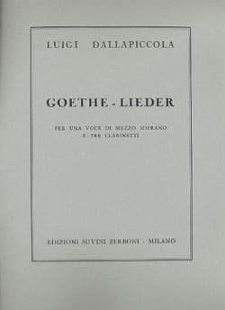 7 Goethe Lieder Luigi Dallapiccola Partition Clarinette - laflutedepan