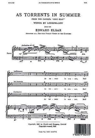 ELGAR - As Torrent In Summer Opus 30. SSA - Partition - di-arezzo.com