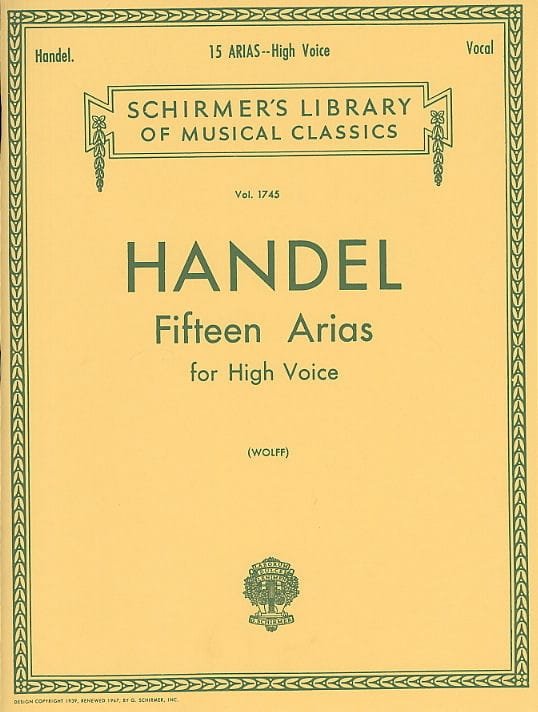 15 Arias. Voix Haute - HAENDEL - Partition - Opéras - laflutedepan.com